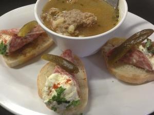 Sausage BArley Soup & Salami Coronets