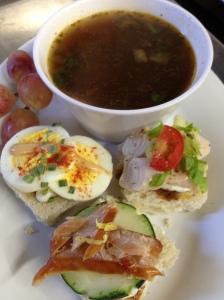 Teas SAndwiches & Beef Noodle Soup