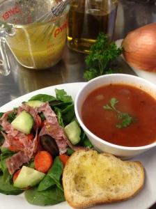 Greek Salad & Tomato RIce Soup