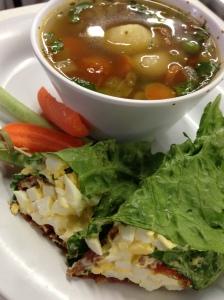Garden Veggie soupa nd Bacon Egg Salad Wrap