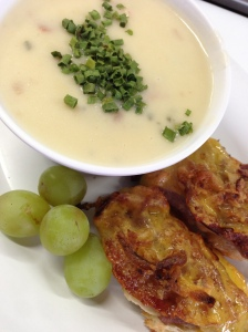 Baked Potato Soup with Beef & Bacon Canapes