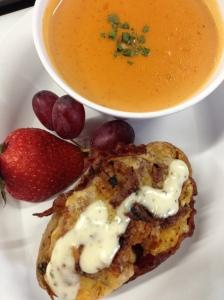 Tomato Soup & Turkey Bacon Ranch Potato Skin