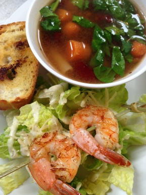 Minestrone & grilled shrimp caeser