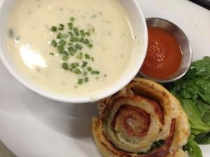 Corn Chowder & Salami Pinwheels