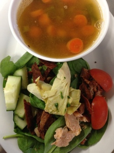 Smoked Salmon Spinach Salad & Lentil Soup