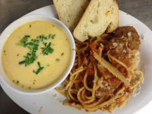 Spaghetti with Meatballs & Soup du jour