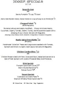 dinner menu 11.7.13
