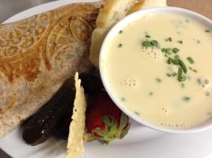 beef & bleu wrap with creamy corn soup