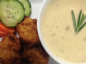 Cheese Soup w/ Corn & Bacon Fritters