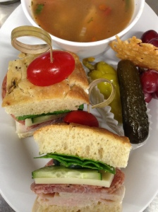 Italian Deli SAndwich and Minestrone Soup