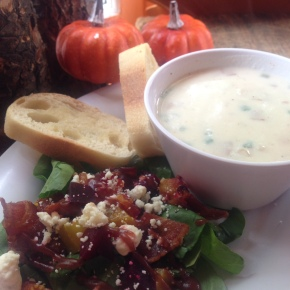 Beet & Bacon Salad with Clam Chowder