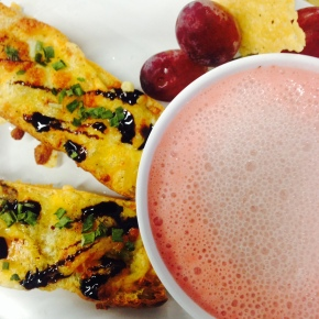 Strawberry Soup & Cheesy Balsamic Canapes