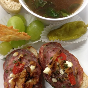 Feta Cream Canapes & Beef Rice Soup